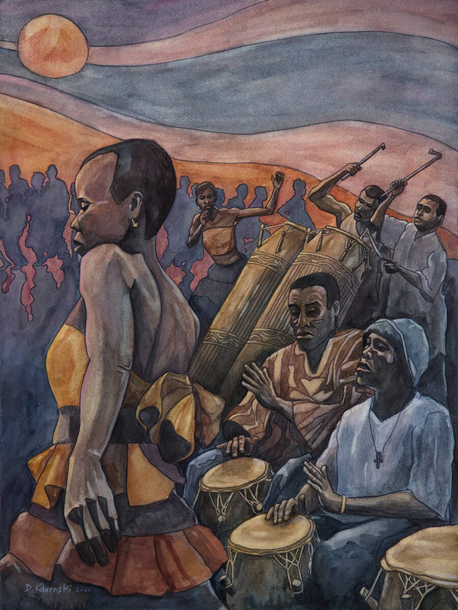 Kpanlogo - Kpanlogo is the name of a popular dance and rhythm from Ghana, West Africa, as well as the name of the drums being played in the foreground. I visited Ghana for 3 months in 2001 and painted this upon my return. Even though this painting is 15 years old, I still love the movement and energy of this work — one of my favs.
