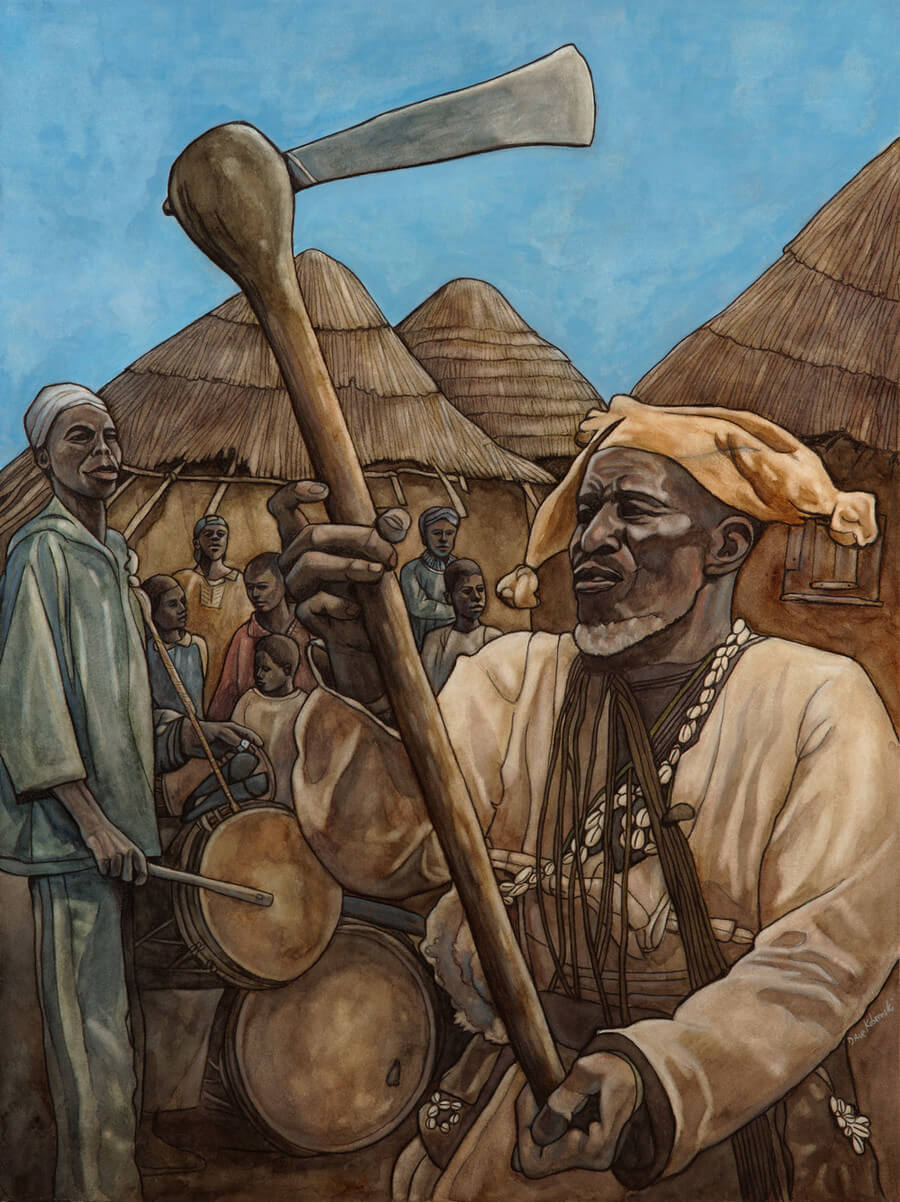 "Numun Foli - 2010. 18x24"" watercolor. Illustration for the book Djoliba Crossing. Numun is the Malinké word for blacksmith, and this painting depicts a festival that took place to celebrate the important work that the blacksmiths do in the village. This man was a charismatic and well-liked member of the community. Sadly, he passed away before I could show him the painting. I gave his family many gifts upon my return to his village in 2016."