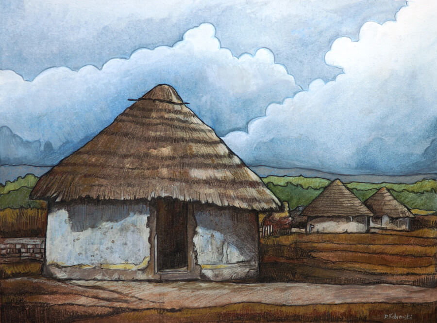 Sangbarala Village Huts - Illustration for the book Djoliba Crossing: Journeys into West African Music and Culture, depicting the style of houses common throughout much of West Africa. Simple though they may seem, these houses are remarkably efficient and ingenious structures — they simultaneously keep the driving rain out while venting the smoke from the fires that can be built inside.