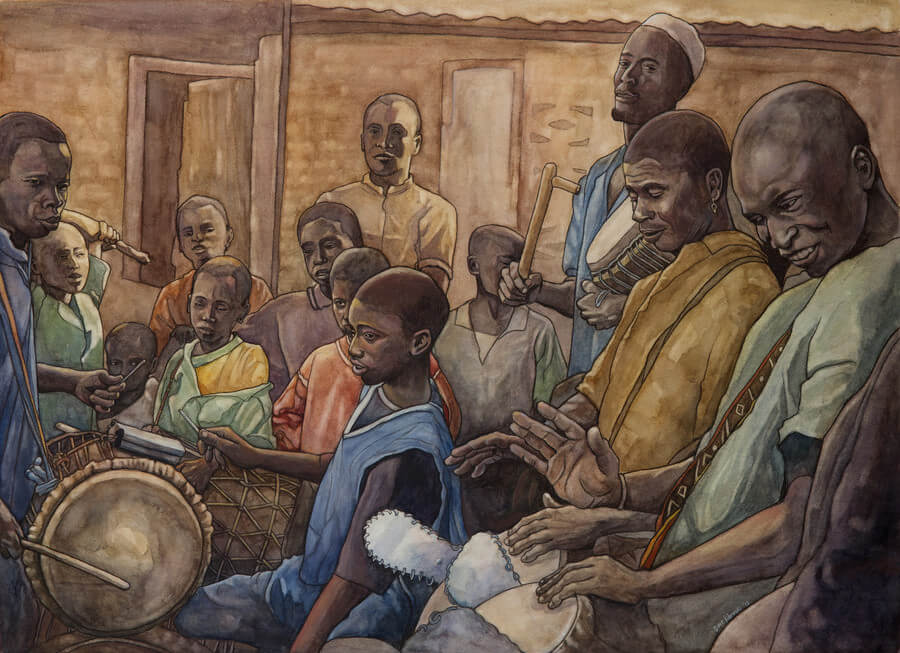 "Les Batteurs I - 2011, 20x27"" watercolor on Arches cold press paper. Illustration for the book Djoliba Crossing: Journeys into West African Music and Culture. ""Les Batteurs"" (the drummers) depicts musicians from the Kouroussa region of Guinea, West Africa, in a village near the Niger River."