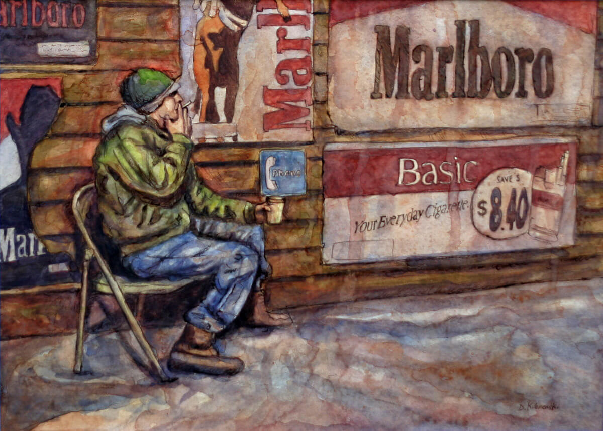 Cheap Smokes Down at the Res - painting by Dave Kobrenski