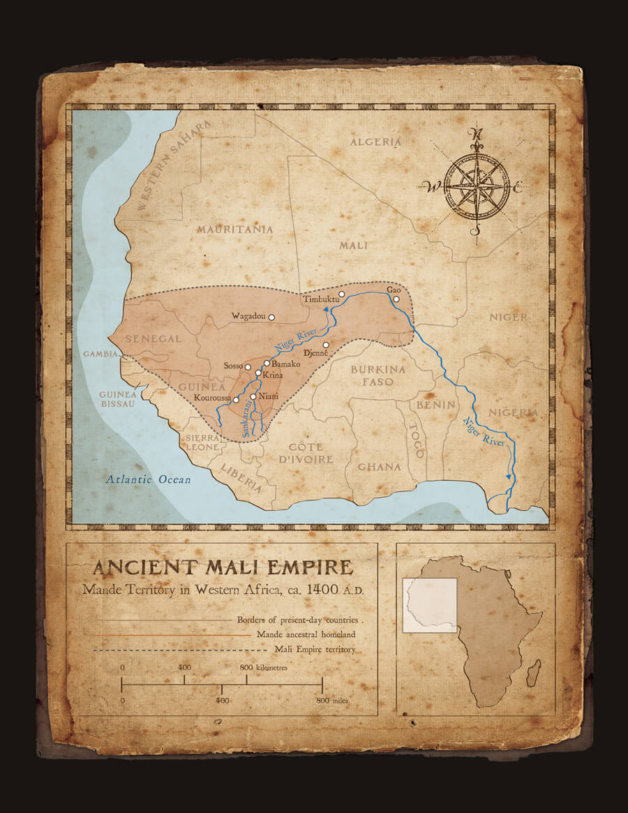 "Djoliba Crossing: ""Ancient Mali Empire Map"" - Artwork from the book Djoliba Crossing by Dave Kobrenski."