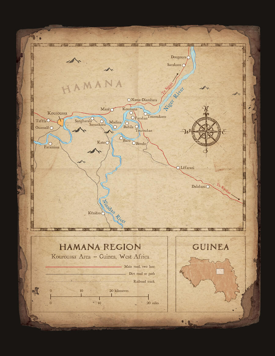 Hamana Region Guinée Map - Mixed media art by Dave Kobrenski. Map illustration showing the  villages of the region known traditionally as Hamana, but today known as the Kouroussa prefecture.