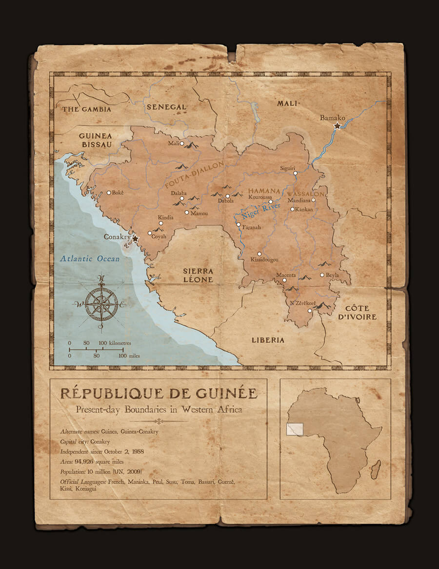 République de Guinée Map - Mixed media art by Dave Kobrenski. Map illustration showing the country of Guinea in West Africa today, as well as some of the locations where the story is set.