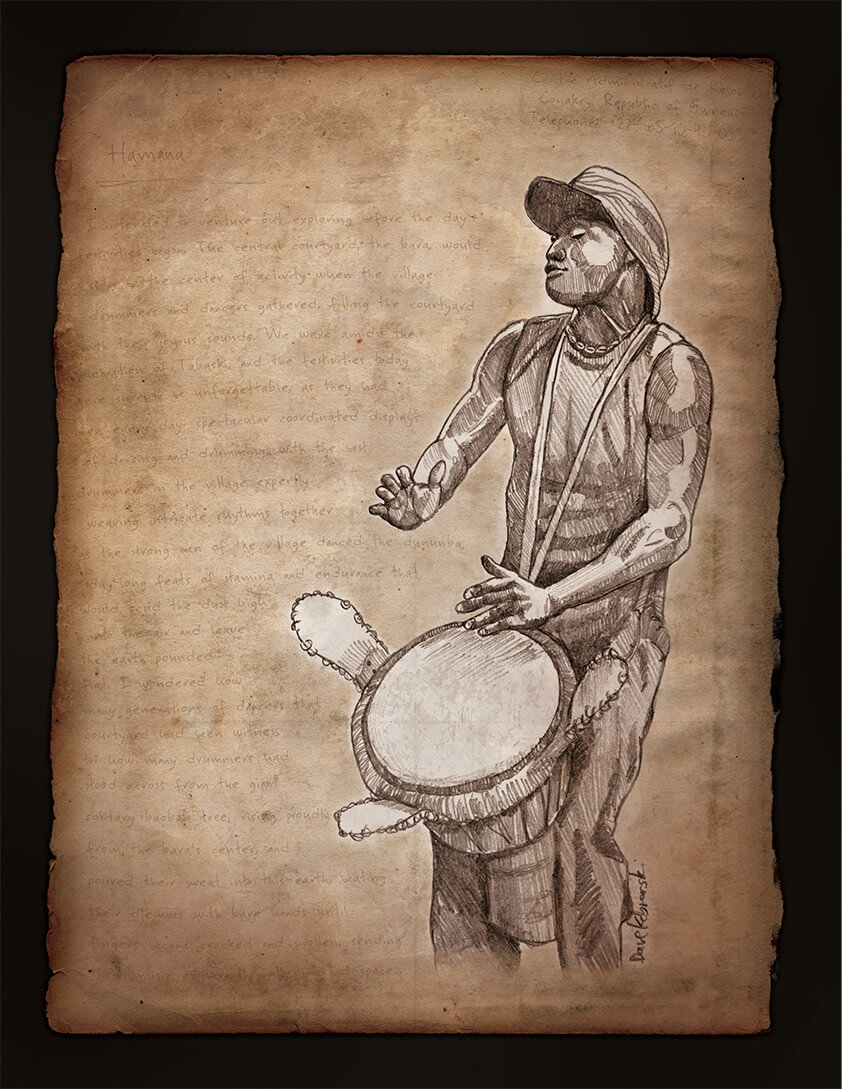 Djoliba Crossing: Sekou playing djembe - Artwork from the book Djoliba Crossing: Sekou playing djembe