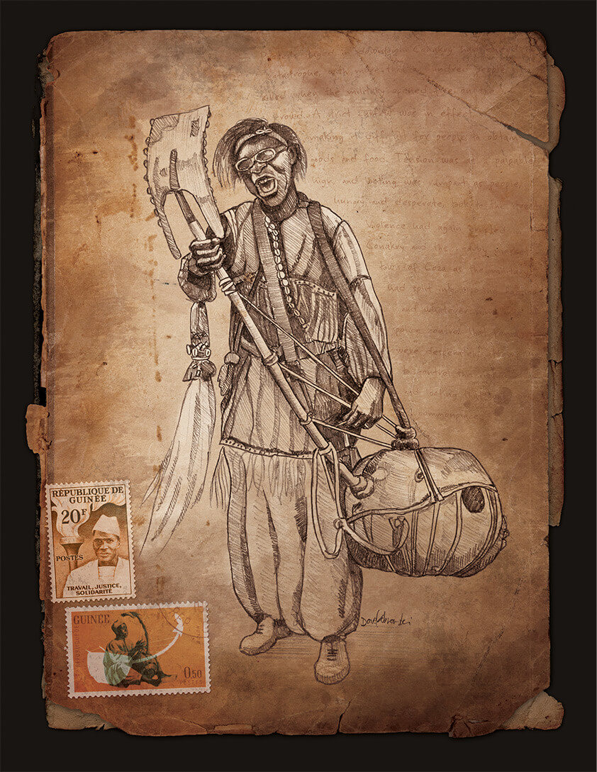 "Djoliba Crossing: ""Bolon player"" - Artwork from the book Djoliba Crossing by Dave Kobrenski."