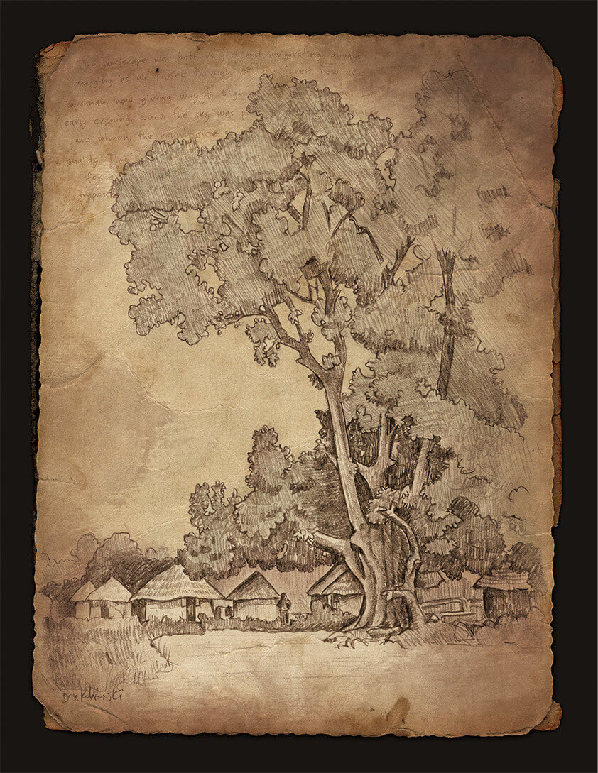 "Djoliba Crossing: ""Baobab tree and houses"" - Artwork from the book Djoliba Crossing by Dave Kobrenski."