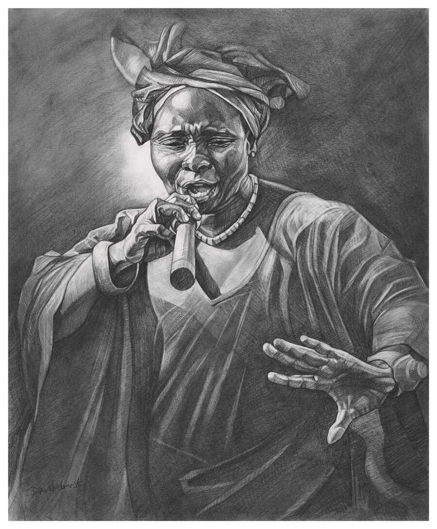 "La Griotte - 14x17"" pencil on bristol by Dave Kobrenski.  For centuries, Griots and Griottes have been important members of Mande society due to their role as oral historians and keepers of the traditions. Nowadays in the cities such as Conakry, they are also dynamic and powerful singers and performers, and always orchestrate the Dembadon festivals that take place just before a marriage. This woman had a powerful voice and was an accomplished singer and respected griotte."
