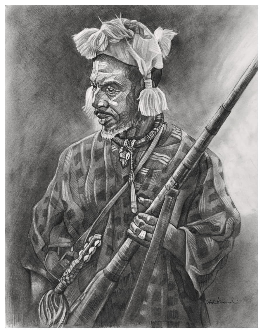 Donso: le chasseur - Donsoya is the art and knowledge of the hunt, and the Donso are initiated hunters who play an important role in Mande society. The hunter in this drawing came to honor the chief of the village in a grand fête that lasted all day, with much music and dancing. This man's powerful rifle was constructed by hand in the village by a local blacksmith, and he fired off several shots to honor the village's chief, who had recently passed away.