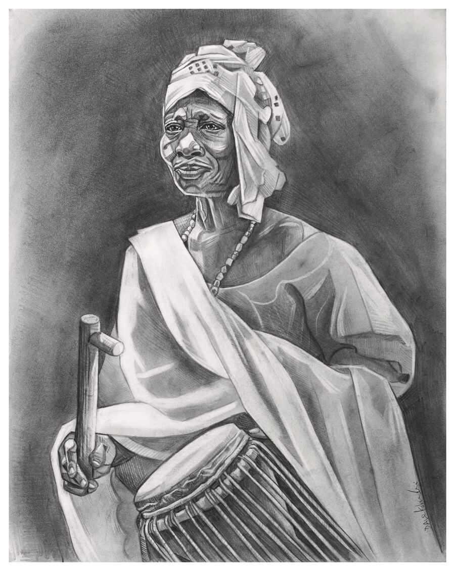 "La Chanteuse - 11 x 14"" pencil on bristol by Dave Kobrenski. This woman was a powerful and charismatic singer that I encountered at a festival honoring the village's former chief 40 days after his death, as is the custom in the village. She led a group of women that came to pay homage to this chief through song and dance. Her drumming kept time as the women echoed her chorus in a lively call-and-response song."
