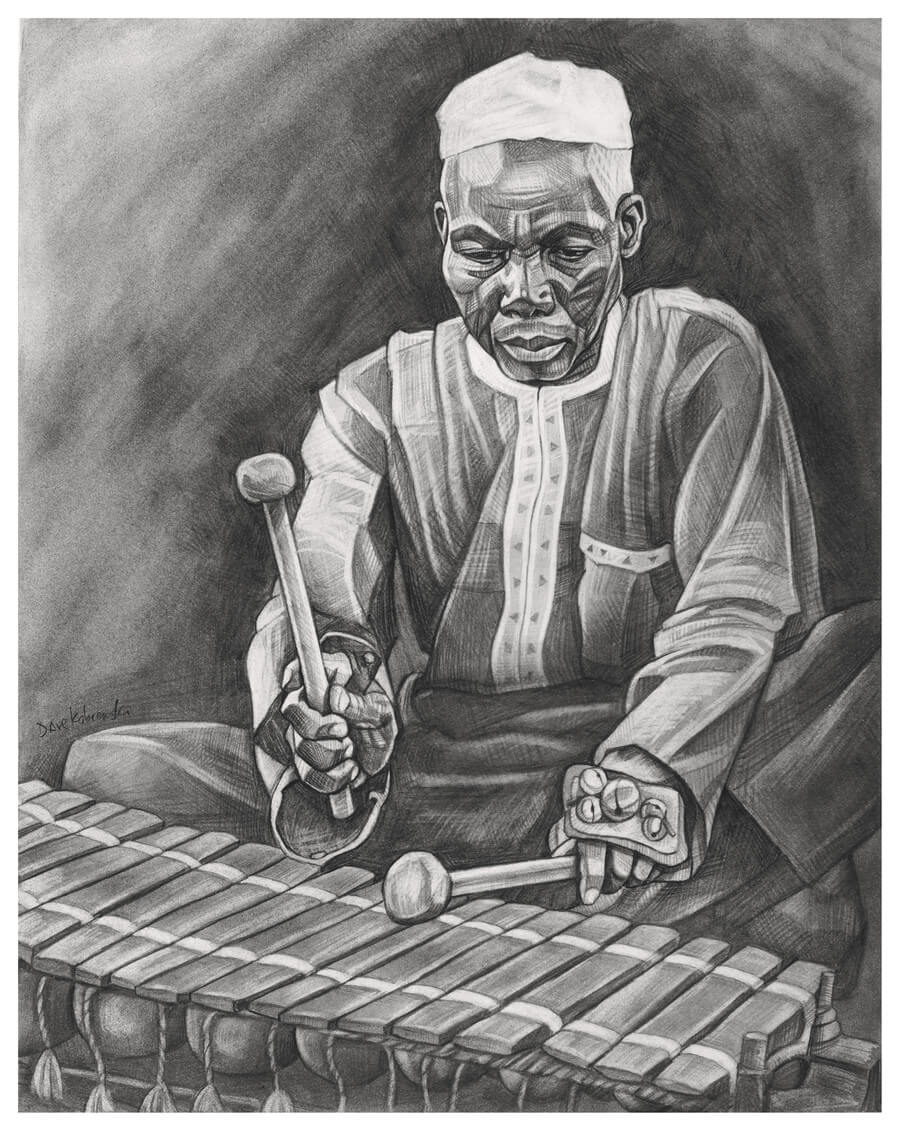 Balafon Player - The balafon is an ancient instrument that resembles a wooden xylophone, with gourds used as resonators. It has roots dating back to the 13th century, and factored heavily in the epic story of Sundiata and the creation of the Mande empire. The balafon is typically played by griots (members of a hereditary caste of oral historians and musicians). Training to play the balafon is intense and takes many years. This man was a virtuoso musician who had likely trained since he was very young. He performed at a festival in the village honoring the chief.