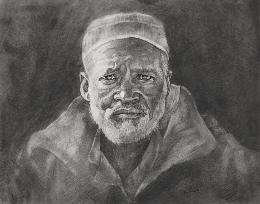 "Kalifa Kourouma -  11x14"" pencil on bristol. One day, we met with all the village elders to discuss current issues of life and work in the village. It was a bright, blue-skied morning but the temperature had not yet risen, and there was a chill to the morning air. The men wore heavy jackets and huddled close, even though the temperature was about 60º F (balmy for me, coming from the New England winters!). This man's face, humility, and kindness I will never forget. His name is Kalifa Kourouma."