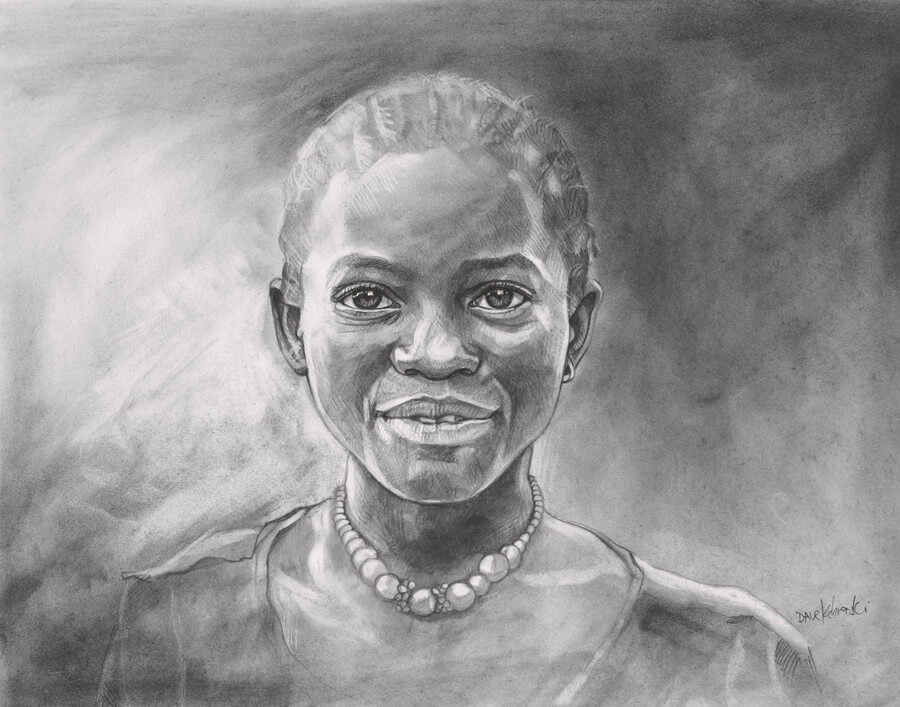 "Jeune Fille de Kouyasidia II -  11x14"" pencil on bristol.  This radiant young girl was engaging and confident, always at the center of attention, despite not being able to speak. Her joyful spirit and courageous ability to overcome what many people would view as a disability made a lasting impression on me."