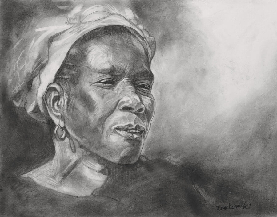 "Chanteuse de Kouyasidia -  11x14"" pencil on bristol. Quite often, the entire village would gather for special occasions, with much singing and dancing. The dust would rise high into the air as the festivities progressed throughout the afternoon and into the night. This woman sang joyfully, accompanied by the traditional drums."