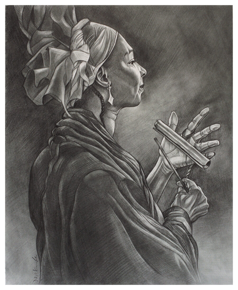 "Belle Femme du Village - 14x17"" pencil on bristol by Dave Kobrenski. At festivals in the village, which were almost always accompanied by much drumming and dancing, the women of the village were always singing and playing their karignon — a hollow tube of metal tied to their finger and stuck rhythmically with a striker. Dozens of these bells played together by many women, with their joyous singing and the exuberant sounds of the traditional djembe and dunun drums, forms quite a powerful musical ensemble."