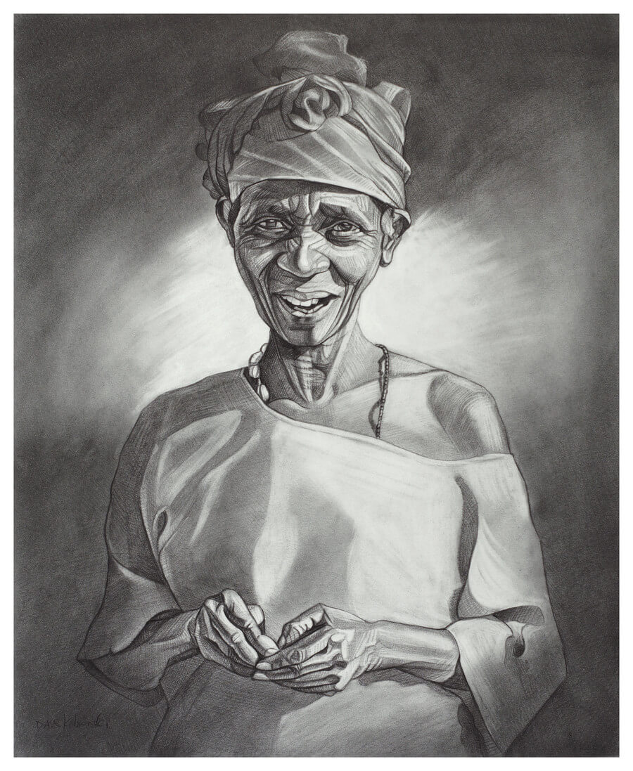 "La Grand-Mère - 14x17"" pencil on bristol by Dave Kobrenski.  In the mornings, when the village was bathed in a soft golden light and the air was still cool, I would go walking down the dusty paths that led between the clusters of small round huts. Since greetings are so important to the Malinké, it was a good opportunity for me to practice my Mandi'nka language skills — saying 'hello' and 'good morning' and 'how did you sleep' and 'how is your health' and on and on, to everyone I met! This woman was so delighted to see a foreigner speaking to her in her own language that she lit up with joy. She was quite a radiant human being."