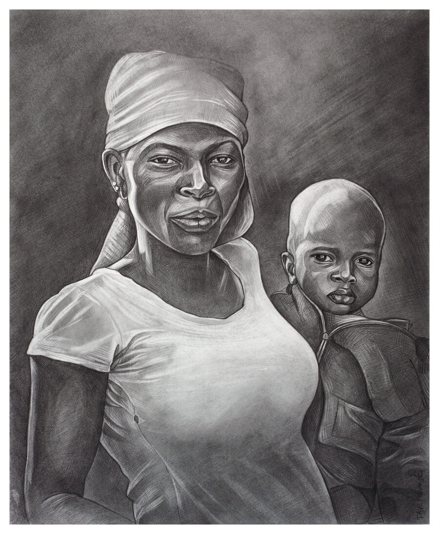 "I Am Africa - 14x17"" pencil on bristol by Dave Kobrenski. This drawing is a tribute to the women of West Africa. Their graceful beauty is matched by their strength, courage, resilience, and often joyful determination in the face of a life that is anything but easy. Their work is tireless, and often thankless. Without their work, everything would stop; they are the true backbone of the village (and of the country). During one of my trips to Guinea, there was a nationwide women's strike in response to unfair prices that the government had set on some staple food items. In a massive word-of-mouth movement, the women of Guinea collectively stopped working. The country ground to a halt; people went hungry. It lasted all of three days. Their demands were met, and everyone went back to work, singing and laughing as usual."