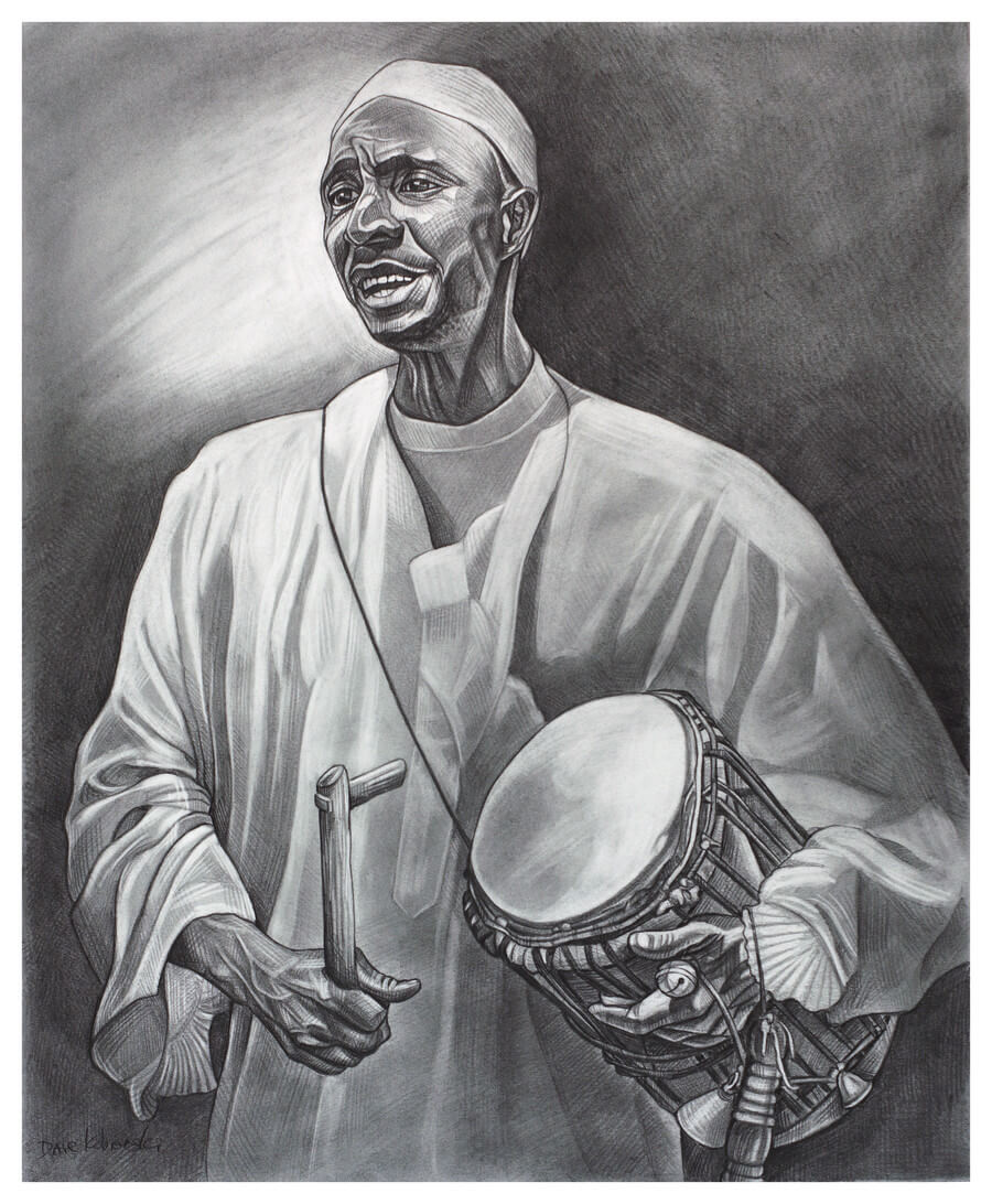 "Imam Singer/Drummer - 14x17"" pencil on bristol by Dave Kobrenski. In the village, there was a huge celebration one day honoring the chief 40 days after his death, as was the custom. The festival was interesting to me on many levels, not the least of which being that it was a display of the unique co-existence found here of traditional ""animist"" beliefs and Islamic practices. Muslims and non-Muslims gathered together to celebrate with music and dancing. In this drawing, an Imam leads a group of dancers in song, keeping time with the traditional tama drum (sometimes called the ""talking"" drum for its ability to ""talk"" as the player squeezes the drum to change its pitch)."
