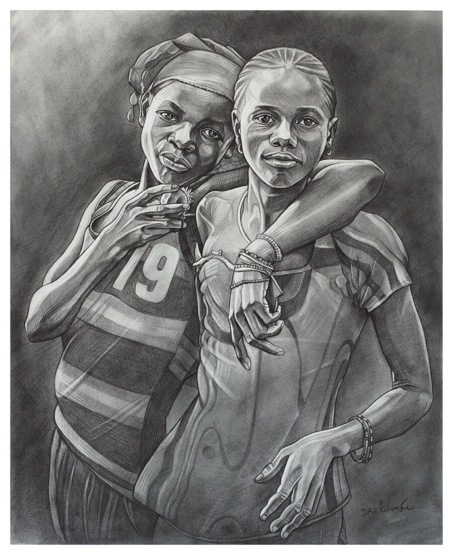 "L'amitié (Friendship) - 14x17"" pencil on bristol by Dave Kobrenski. ""L'amitié est l'un des beaux cadeaux de la vie."" Friendship is one of the greatest gifts in life. Friendship is a universal thing. There's something about visiting another culture, where the language and customs seem so different from your own, and seeing two friends walking together, hands interlocked and beaming with joy, to make you realize that we are all the same.  I came across these young friends walking down one of the dusty paths in the village. Even though we did not speak the same language and had grown up an ocean apart, in some way I felt connected to them because I understood how friendship feels. ""To be without a friend is to be poor indeed."" The people in this simple village have a great wealth of friendship and family. All the money and material possessions we have in the West pale in comparison."