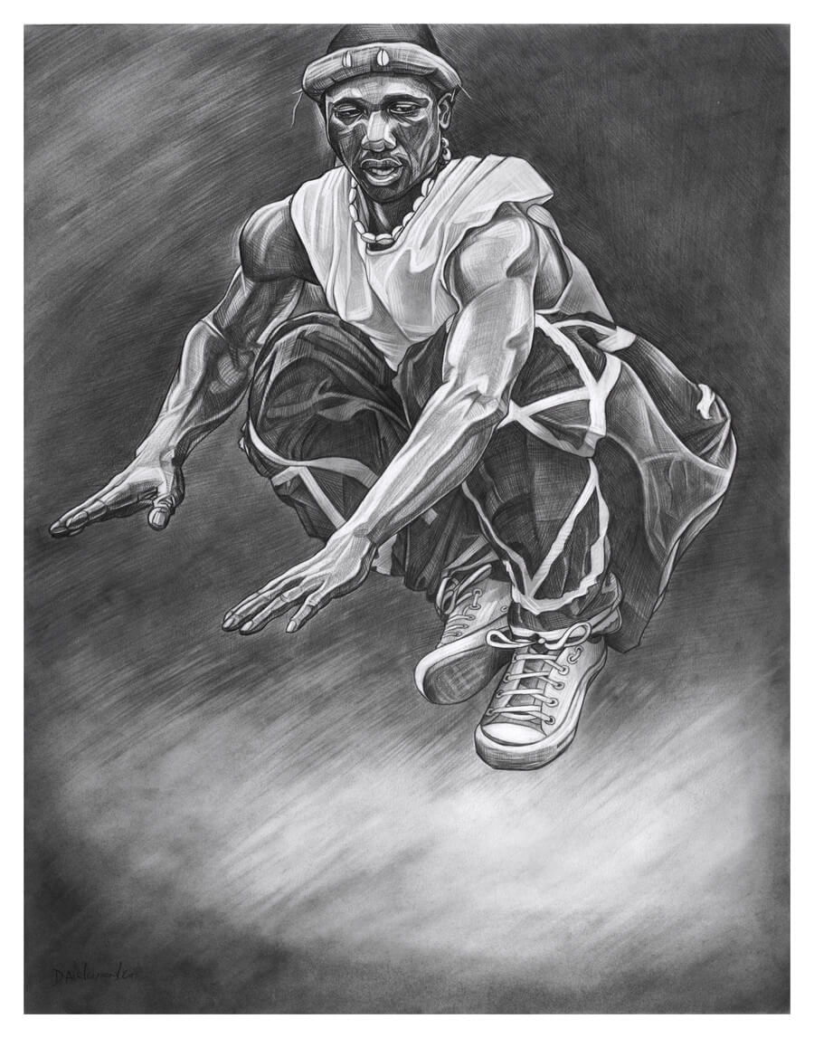 "Dununba Dancer in Flight - 19x24"" pencil on bristol by Dave Kobrenski. ""Dununba"" is the name of a Malinké festival and family of rhythms that accompany it. It is known as the ""dance of the strong men"", and I have written extensively about it in my book, Djoliba Crossing.  Here, a dancer hailing from the Kouroussa region of Guinea, West Africa, gets airborne while displaying his strength and prowess as a dancer in this exuberant festival. The festival is always accompanied by the traditional Malinké drums: Dununba, Sangban, Kenkeni (the skin is played with sticks and each has a bell attached to the drum), and the djembe (played with bare hands)."