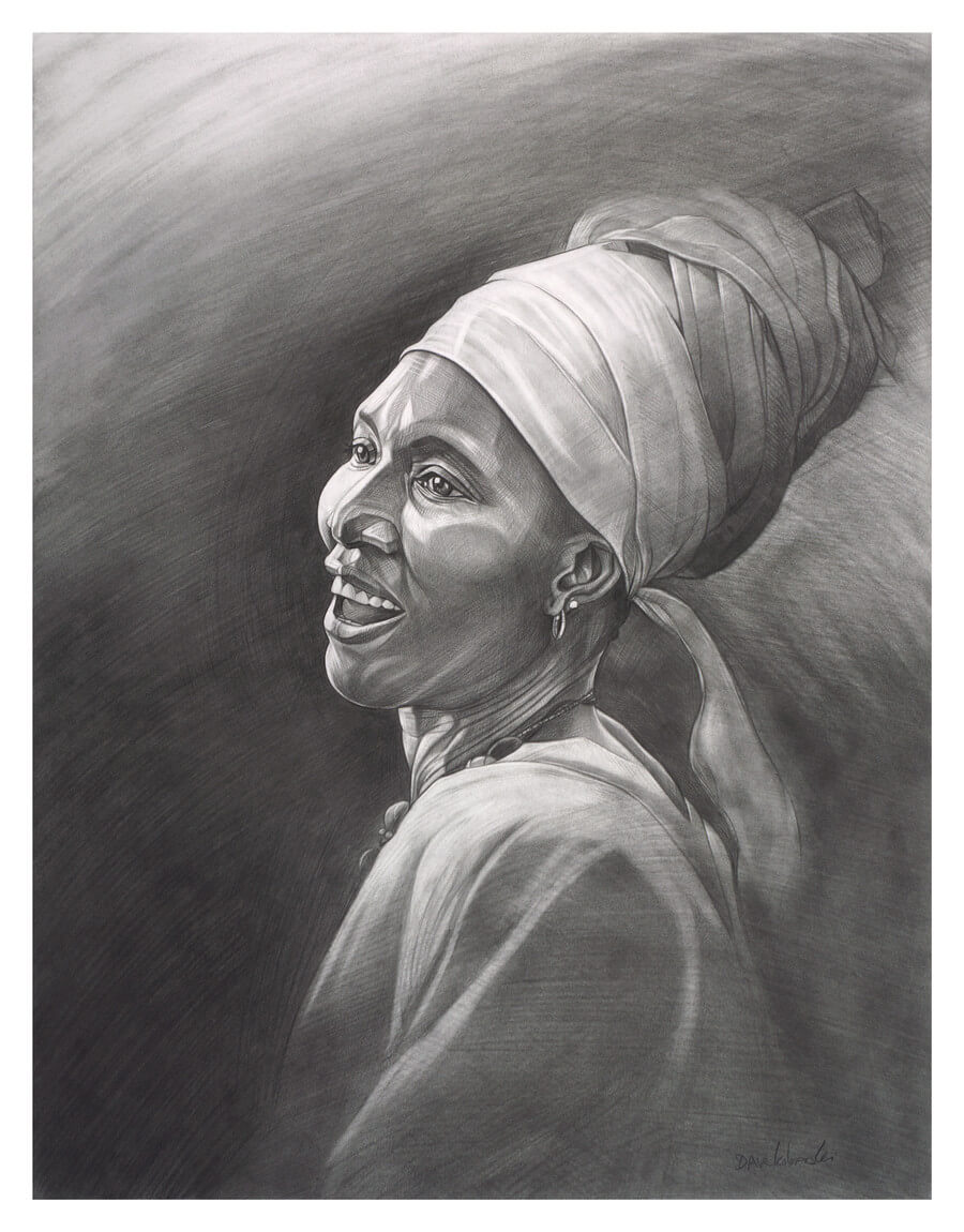 "D'où vient la joie? - ""Where does joy come from?"" While drawing this portrait of a joyous woman from Guinea, West Africa, I thought a lot about this question. It's one that I find myself asking quite often while I'm traveling in West Africa, and for good reason: despite what most people would see as oppressive poverty and a difficult way of life, the people of Guinea always seem to find joy in their everyday lives.  Perhaps it is their immense pride in their families and communities, or their vibrant music, dance, and cultural traditions. Others would tell me that it stems from their courage in facing life with a smile, with the ones you love around you. Une telle joie? Il faut avoir de courage ! Such joy? One must have courage!"