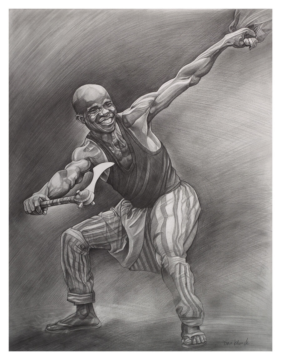 "Dununba: Barati Dancer with Djende - 19x24"" pencil on bristol by Dave Kobrenski. Dununba is a family of rhythms played on the traditional Malinké drums: djembe, sangban, kenkeni, and dununba. The dance that accompanies the dununba rhythms (referred to by the same name) is performed by the strongest men of the village, who dance with members of the age group to which they belong. Day-long feats of endurance and stamina, the events were once used to settle disputes between the age groups, in sometimes bloody contests — but today are showy (and impressive) events in which it is the dancing of the men alone that proves their strength. In modern times, the dance has become popular in urban areas, and both men and women dance the dununba. Here, a member of the barati age group dances the Dununba with the traditional axe (called djende in Malinké)."
