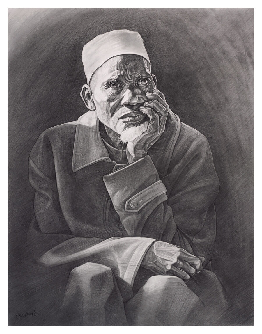 "Facily Condé - 19x24"" pencil on bristol by Dave Kobrenski. I met Facily Condé in the Faranah region of Guinea, West Africa. A respected elder in his village, Facily was also renowned as a great djembefola throughout the region.  I met him because he was the teacher of my own teacher, Sayon Camara, who has, in turn, taught many others about the musical tradition. In this way, the tradition continues, in the same way it always has: being passed from generation to generation. In this drawing, I was inspired by seeing a group of elders meet in the village center to discuss matters of importance to the village. It was early morning, and the bright sunlight was just beginning to stream between the village huts and baobab trees that encircled the meeting area (bara) in the village. As I regarded Facily's expression of concern, I thought about how the ""greater good"" of the community as a whole was always at the forefront of conversation."