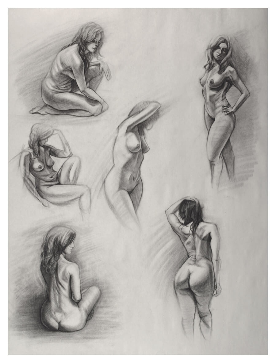 Figure drawing, short poses - 18x24 sheet, charcoal on newsprint. 5-10 minute poses. August 12, 2017
