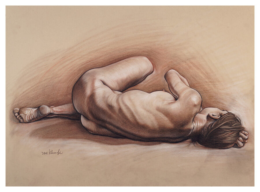 Monika II - 18x24, charcoal, sepia + sanguine conté, chalk on toned paper. November 13, 2017