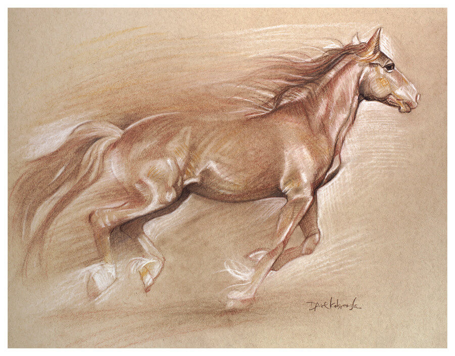 Wild Horse II / Spirit Animals & Wild Places / Drawing by Dave Kobrenski -