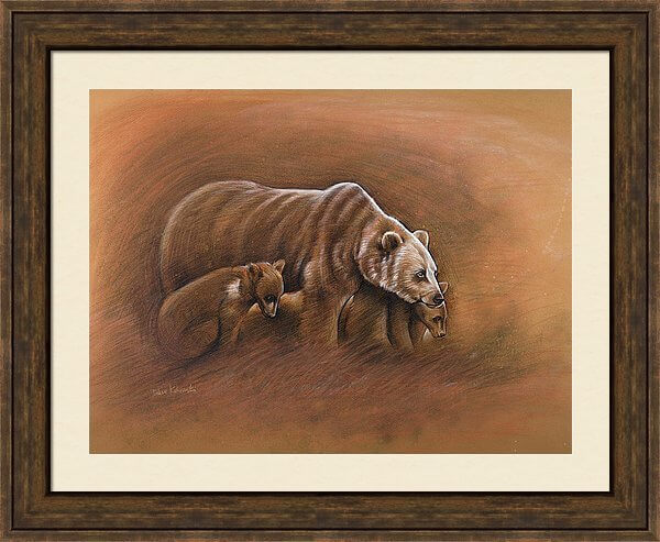 Bear and cubs - artwork with frame