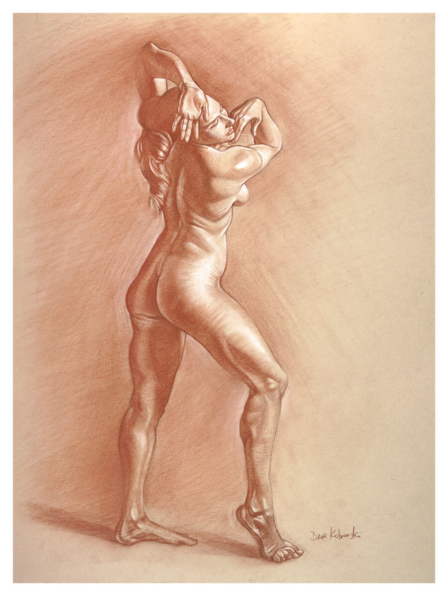 Lauren IV - the Dancer - 18x24, sanguine conté on toned paper. Feb 1, 2018