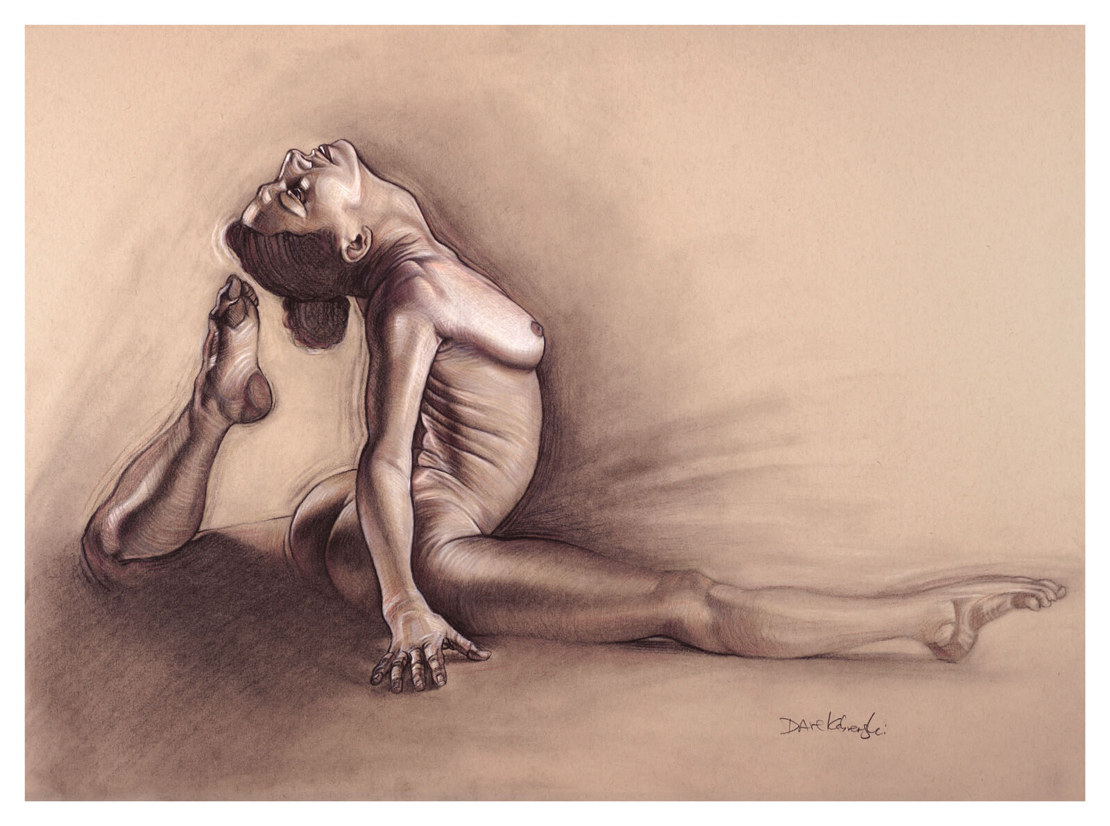 Yoga i figure drawing by dave kobrenski