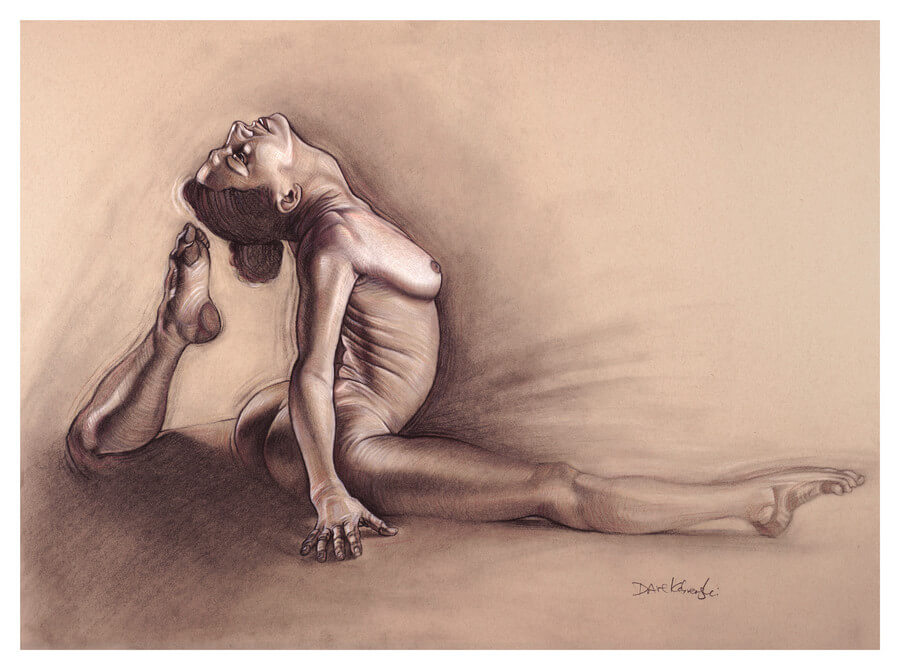 Yoga I - 18x24, charcoal, conté and colored pencil on toned paper. March 9, 2018