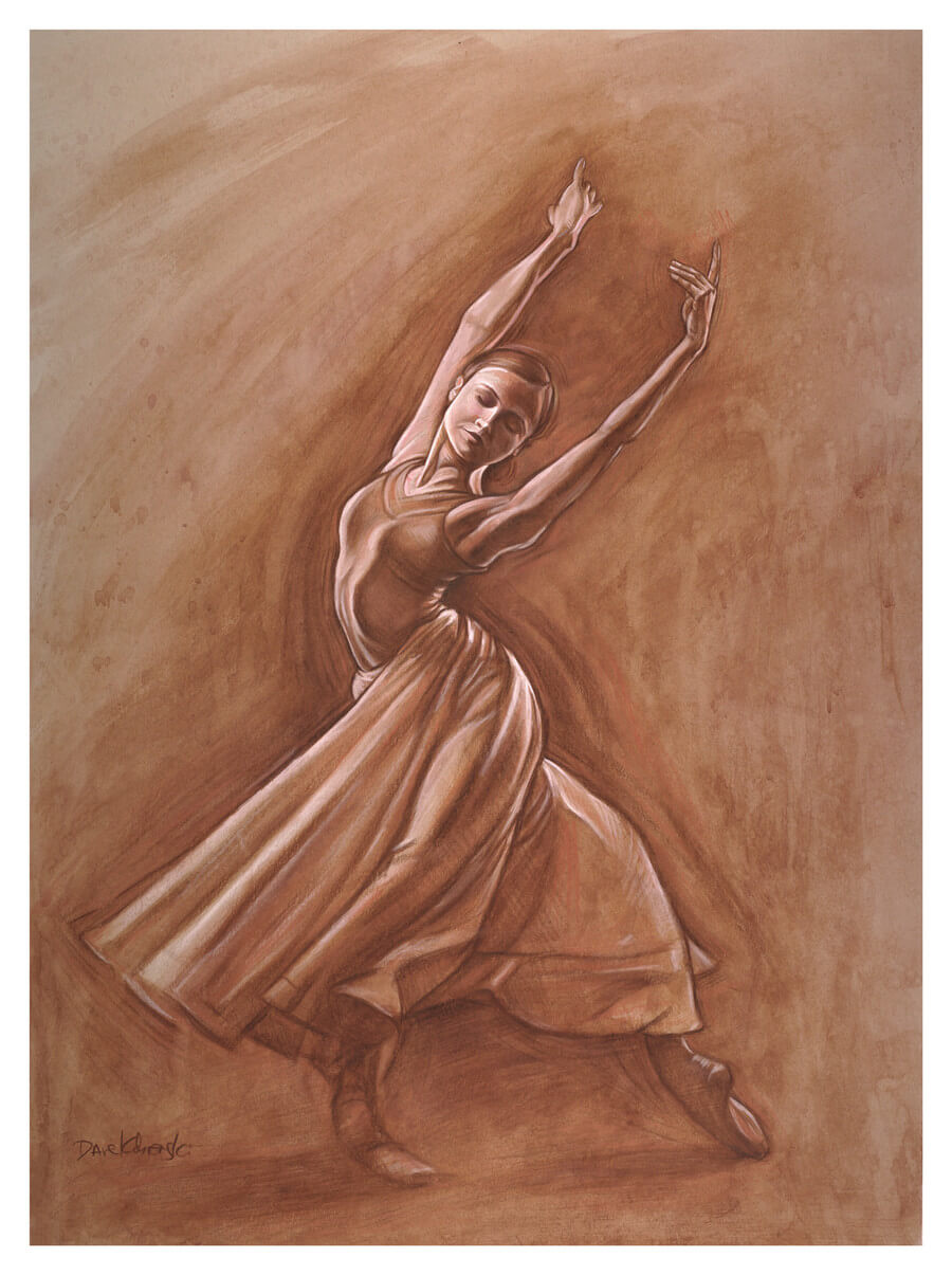 Hannah I - the Ballerina - Figure study drawing. 18x24, watercolor, gouache, and pencil on toned paper.  May 28, 2018.