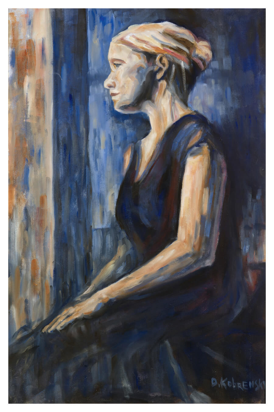 Carrie in Blue - An early oil painting of mine from art school,  circa 1998. This painting comes framed.