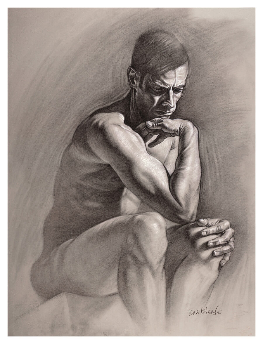 Ben III - Figure drawing / anatomy study. 18x24 charcoal and conté on Canson Mi-Teintes toned paper. September 22, 2018