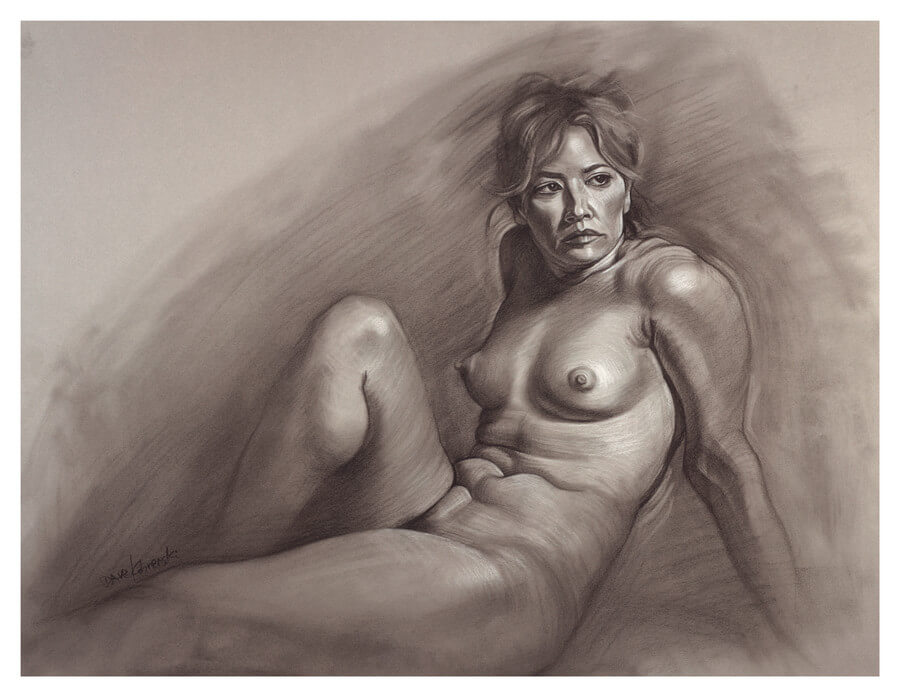 Taryn I - Figure drawing / anatomy study. 18x24 charcoal and conté on Canson Mi-Teintes toned paper. November 27, 2018