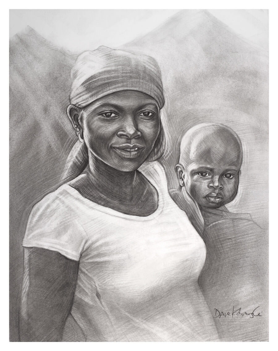 I Am Africa - This drawing is a tribute to the women of West Africa. Their graceful beauty is matched by their strength, courage, resilience, and often joyful determination in the face of a life that is anything but easy. Their work is tireless, and often thankless. Without their work, everything would stop; they are the true backbone of the village (and of the country). During one of my trips to Guinea, there was a nationwide women's strike in response to unfair prices that the government had set on some staple food items. In a massive word-of-mouth movement, the women of Guinea collectively stopped working. The country ground to a halt; people went hungry. It lasted all of three days. Their demands were met, and everyone went back to work, singing and laughing as usual.